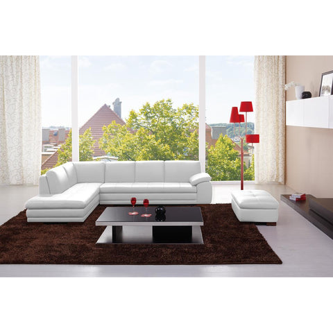 J&M 625 Italian Leather Ottoman In White