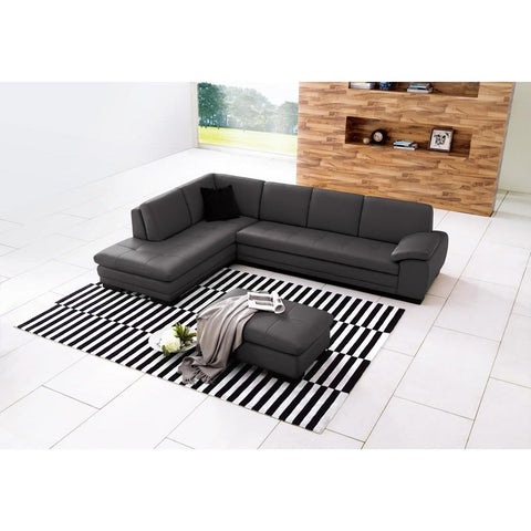 J&M 625 Italian Leather Sectional In Grey