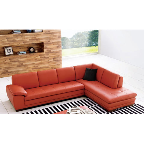 J&M Furniture 625 Italian Leather Sectional in Pumpkin