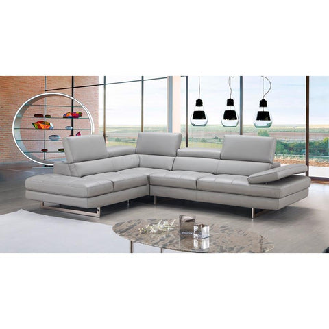 J&M Furniture A761 Italian Leather Sectional Light Grey In Left Hand Facing