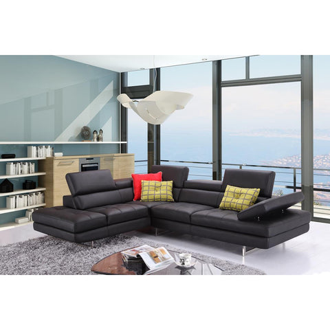 J&M A761 Italian Leather Sectional Slate Black