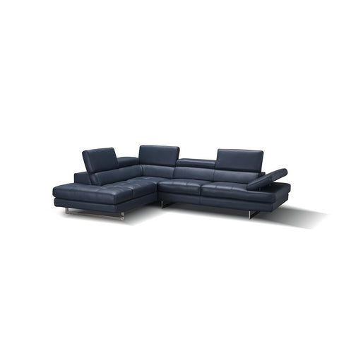J&M Furniture A761 Italian Leather Sectional in Blue