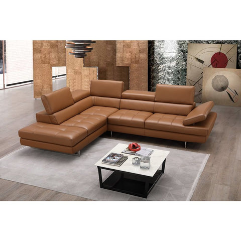 J&M Furniture A761 Italian Leather Sectional in Caramel