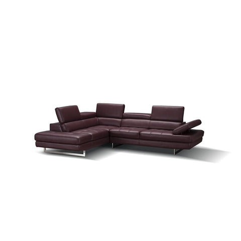 J&M Furniture A761 Italian Leather Sectional in Maroon