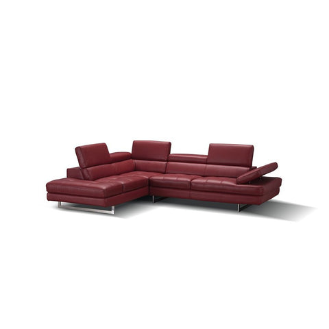 J&M Furniture A761 Italian Leather Sectional in Red