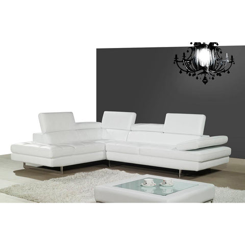J&M Furniture A761 Italian Leather Sectional in White