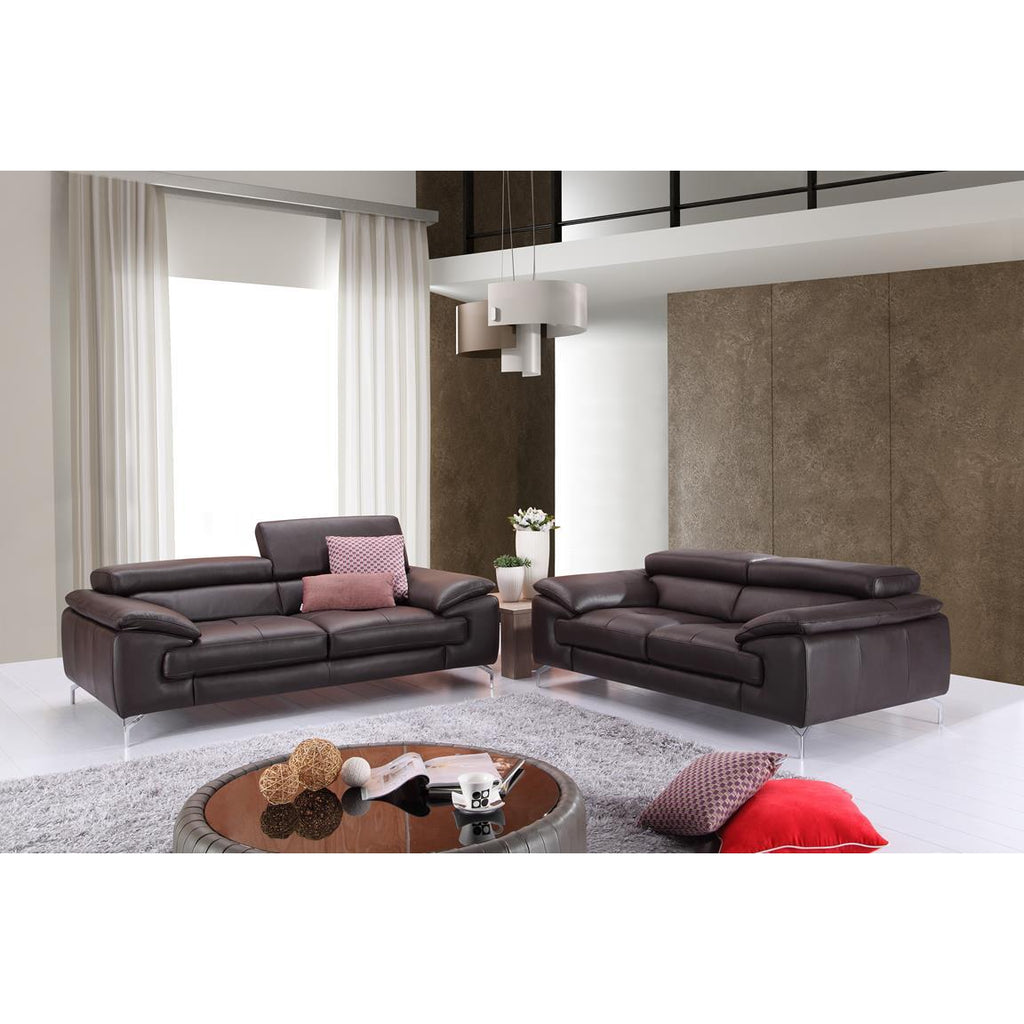 J&M A973 2 Piece Italian Leather Sofa And Loveseat Set In Coffee ...