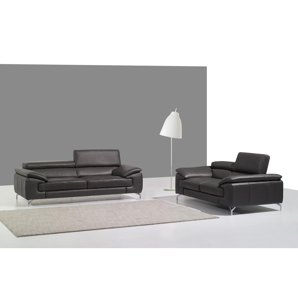 J&M A973 2 Piece Italian Leather Sofa And Loveseat Set In Grey