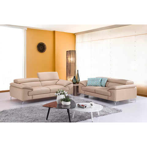 J&M A973 2 Piece Italian Leather Sofa And Loveseat Set In Peanut
