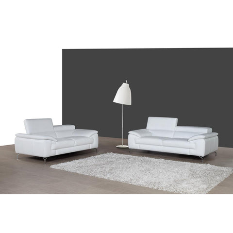 J&M A973 Italian Leather Loveseat In White