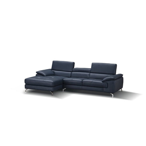 J&M Furniture A973B Italian Leather Mini Sectional Chaise in Blue