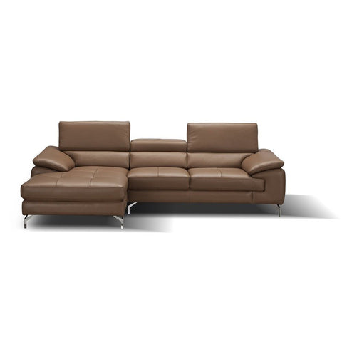 J&M Furniture A973B Italian Leather Mini Sectional Chaise in Caramel