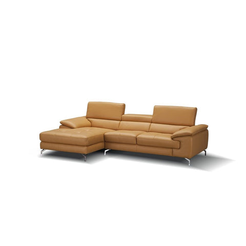 J&M Furniture A973B Italian Leather Mini Sectional Chaise in Freesia