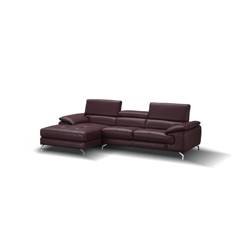 J&M Furniture A973B Italian Leather Mini Sectional Chaise in Maroon