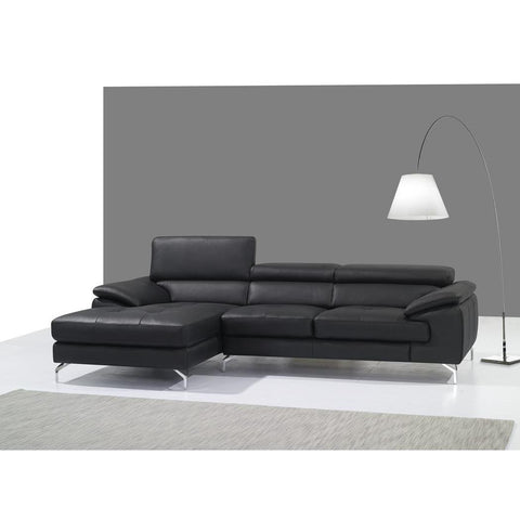 J&M A973b Italian Leather Mini Sectional Chaise In Black