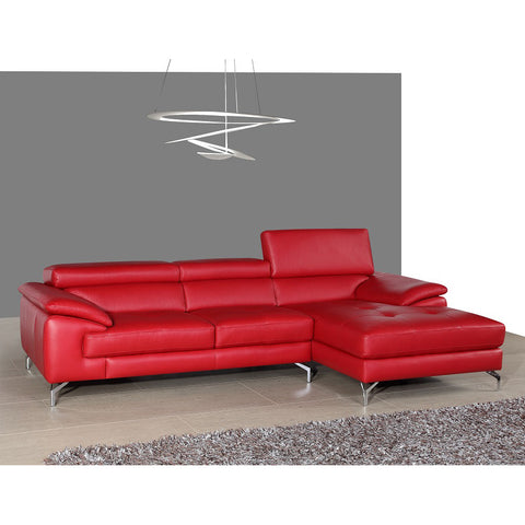 J&M Furniture A973b Italian Leather Sectional in Red