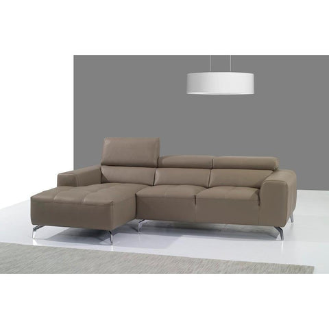 J&M A978b Italian Leather Sectional Chaise In Burlywood