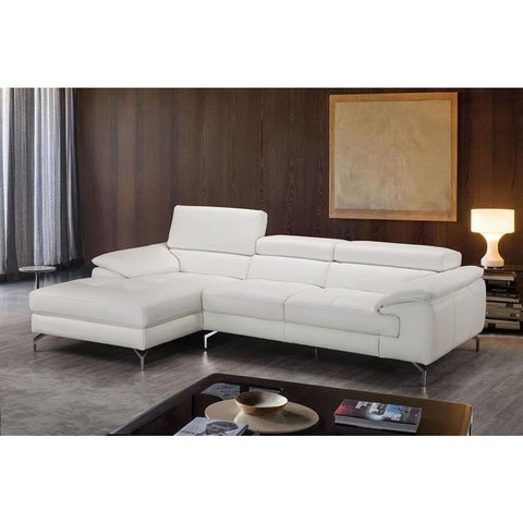 J&M Furniture Alice Premium Leather Sectional In Left Facing Chaise in White