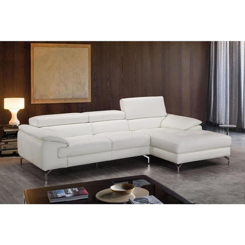 J&M Furniture Alice Premium Leather Sectional In Right Facing Chaise in White