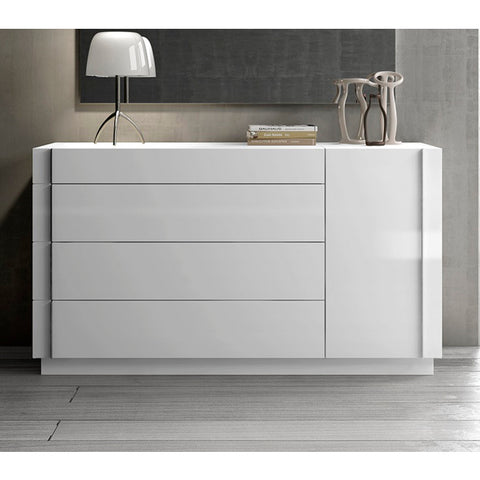 J&M Furniture Amora Dresser in White Lacquer & Chrome