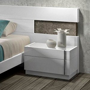 J&M Furniture Amora Nightstand in White Lacquer & Chrome