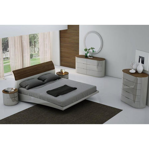 J&M Furniture Amsterdam Platform Bed in Walnut & Light Grey