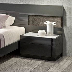 J&M Furniture Braga Nightstand in Grey Lacquer