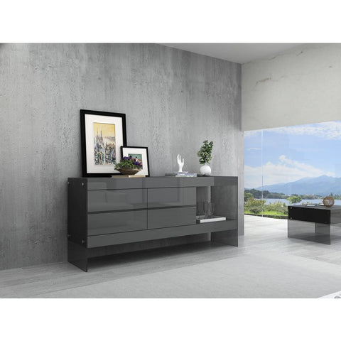 J&M Furniture Cloud Buffet in Grey High Gloss