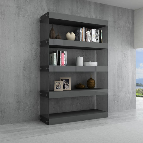 J&M Furniture Cloud Curio Unit in Grey High Gloss