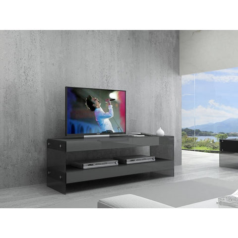 J&M Furniture Cloud Mini TV Base in Grey High Gloss