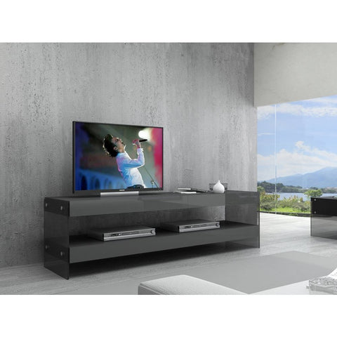 J&M Furniture Cloud TV Base in Grey High Gloss