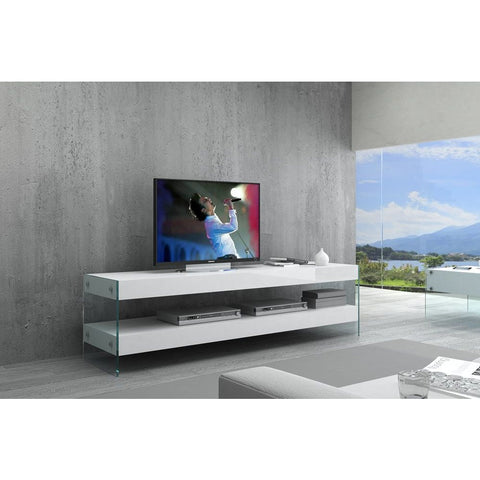 J&M Furniture Cloud TV Base in White High Gloss