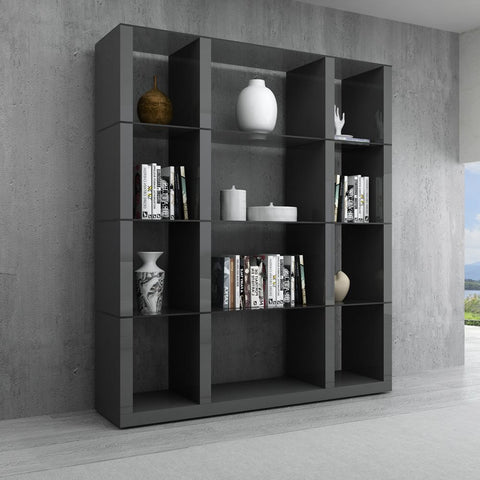 J&M Furniture Cloud Wall Unit in Grey High Gloss