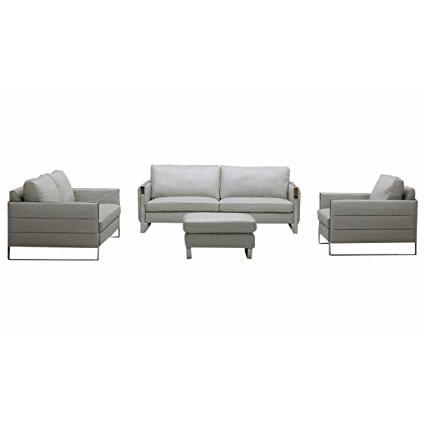 J&M Furniture Constantin 4 Piece Leather Living Room Set in Light Grey