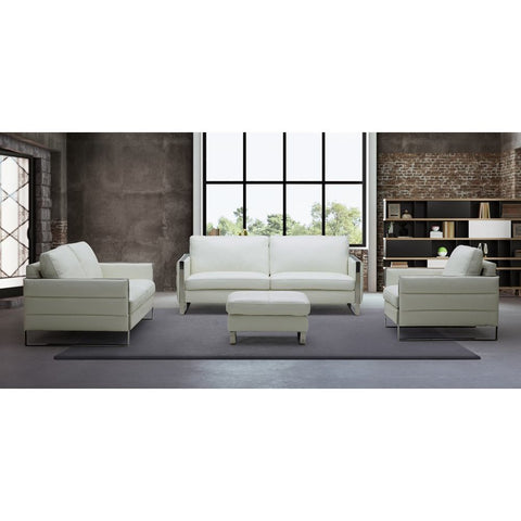 J&M Furniture Constantin Leather Ottoman in White