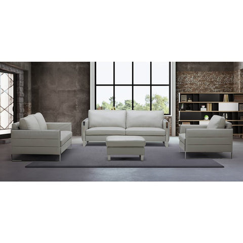 J&M Furniture Constantin Leather Sofa in Light Grey