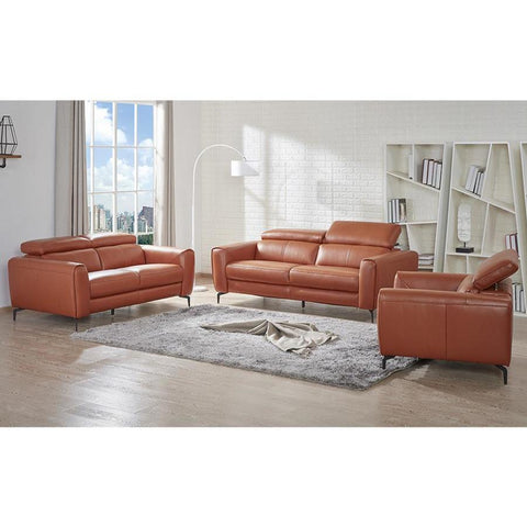 J&M Furniture Cooper 3 Piece Living Room Set in Pumpkin
