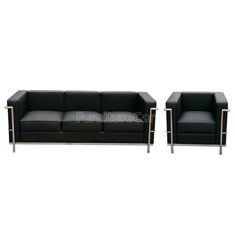 J&M Furniture Cour 2 Piece Italian Leather Living Room Set in Black