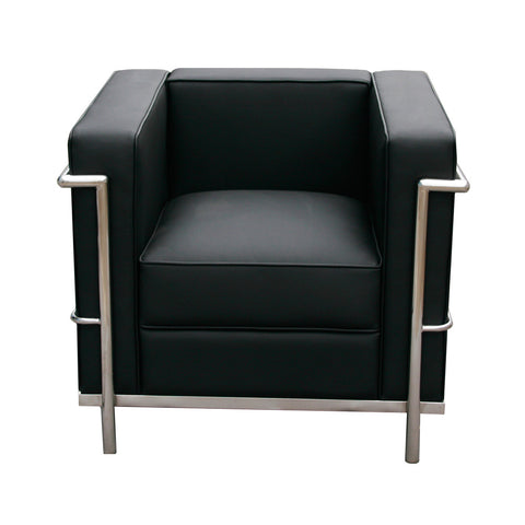 J&M Furniture Cour Italian Leather Chair in Black