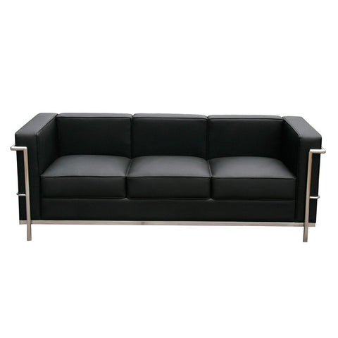 J&M Furniture Cour Italian Leather Sofa in Black