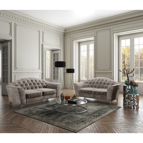 J&M Furniture Divina Loveseat in Taupe Fabric