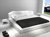 J&M Furniture Dream Upholstered Platform Bed in White Leather