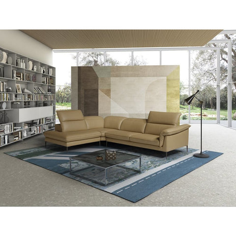 J&M Furniture Eden Premium Leather Sectional in Miele