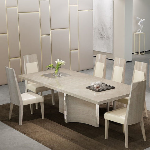 J&M Furniture Giorgio 7 Piece Dining Room Set in Light Maple