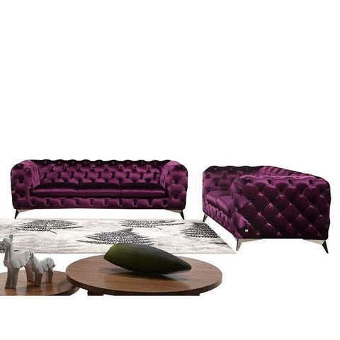 J&M Furniture Glitz 2 Piece Living Room Set in Purple