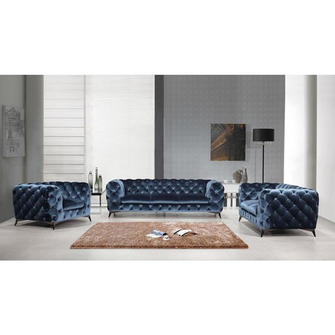 J&M Furniture Glitz Loveseat in Blue
