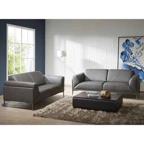 J&M Furniture King 2 Piece Living Room Set in Grey Leather