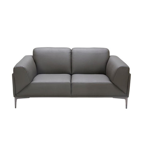 J&M Furniture King Loveseat in Grey Leather