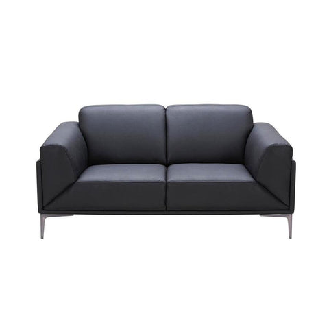 J&M Furniture Knight Loveseat in Black Leather