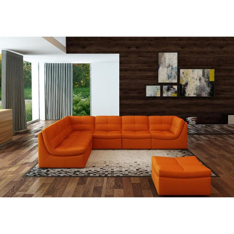 J&M Furniture Lego 7 Piece Living Room Set in Pumpkin